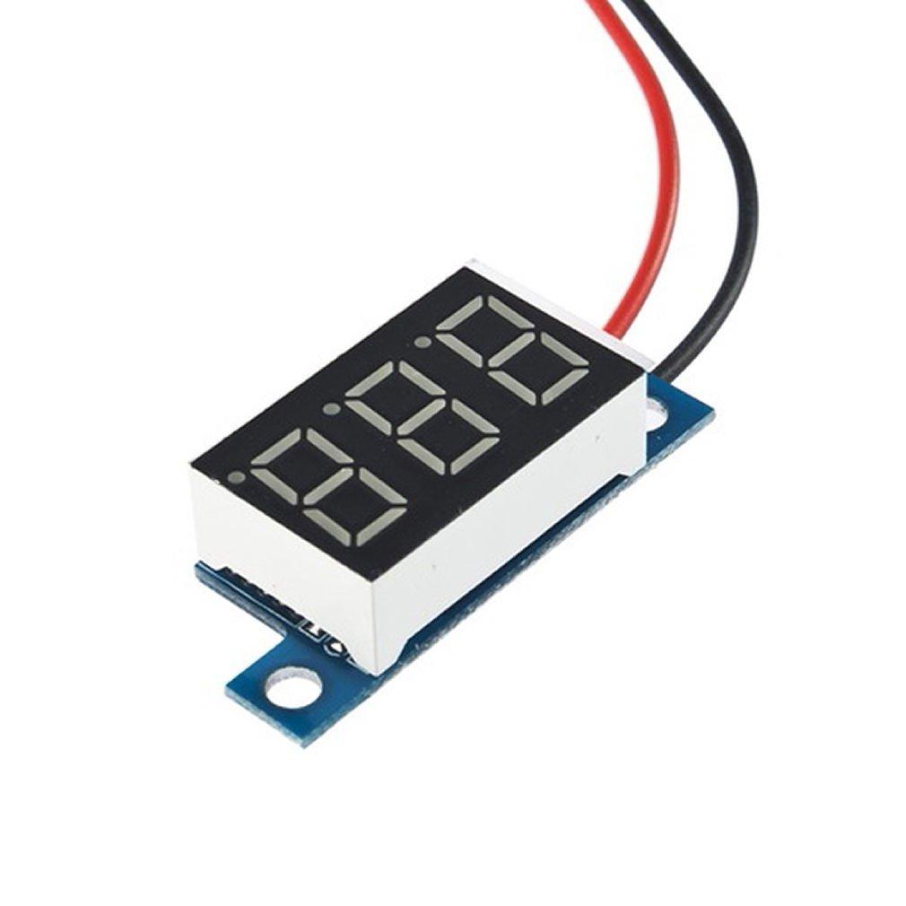 Lithium Battery Digital Voltmeter DC 3.3v - 17V Red LED Small Panel Meter