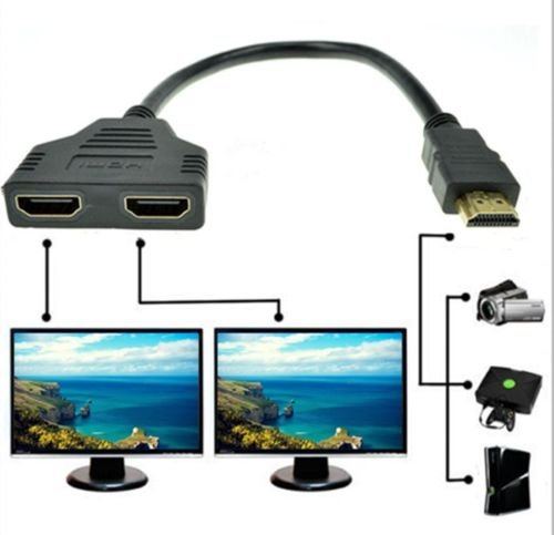 1080P HDMI Port Male to 2 Female 1 In 2 Out Splitter Cable Adapter Converter     CP1