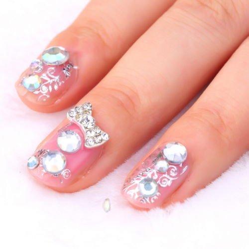 300Pcs 3D Rhinestones Glitter Diamond Gems Tips DIY Nail Art Decoration Wheel        GGT6
