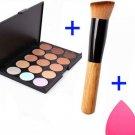 15 Colors Contour Face Cream Makeup Concealer Palette + Sponge Powder Brush             BV6
