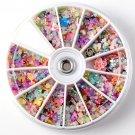 500pcs Wheel Mixed Nail Art Tips Glitters Rhinestones             BV6
