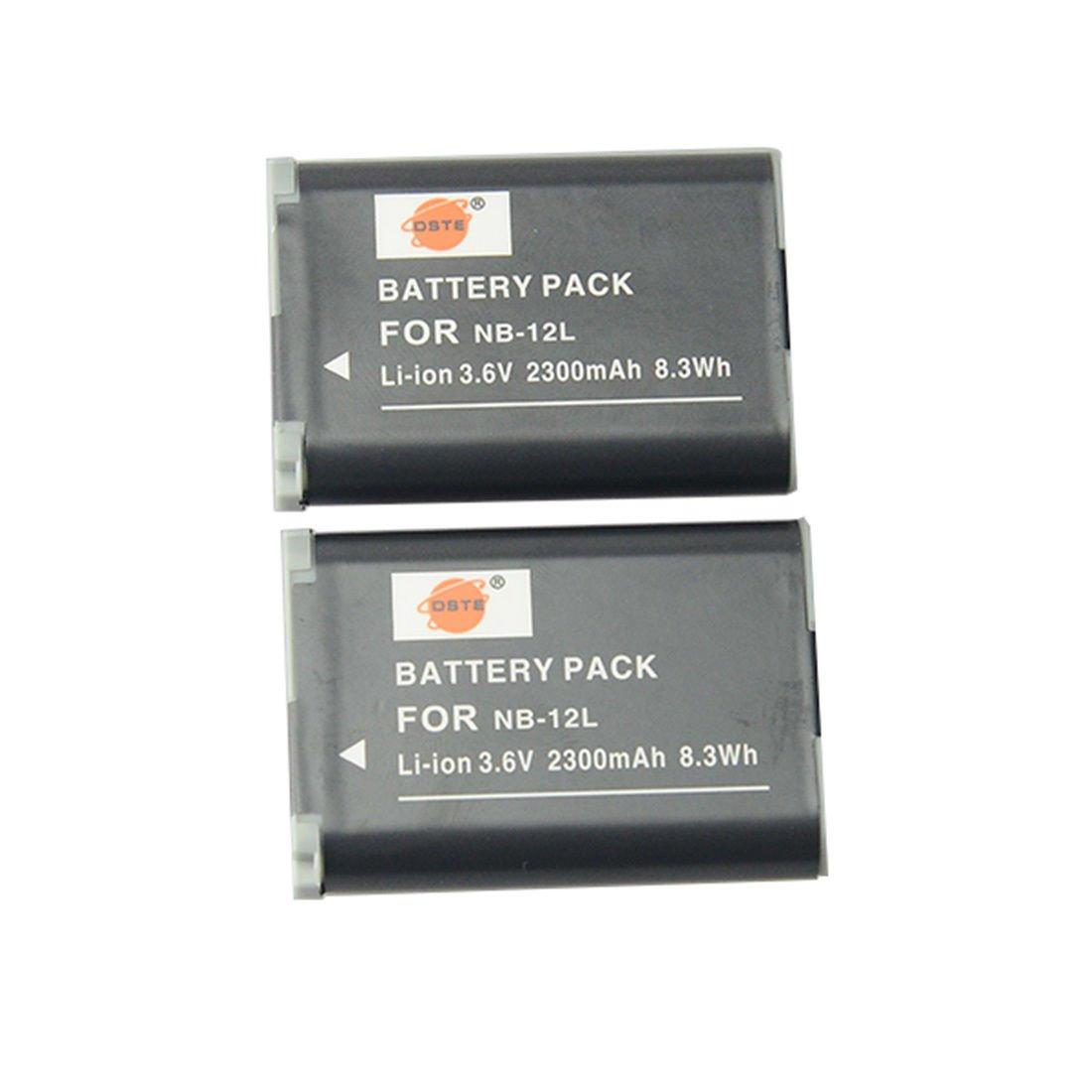 DSTE 2PCS NB-12L Li-ion Battery for Canon PowerShot G1X Mark � N100 Camera       VW0