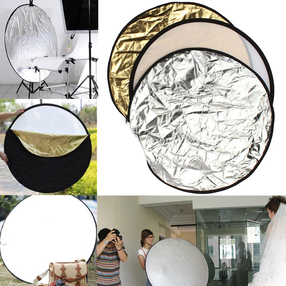 24'' 60cm 5-in-1 Photography Studio Photo Disc Collapsible Soft Light Reflector      VW2