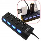 LED 4 Port USB Hub External Splitter Adapter For Laptop PC Mac w/ ON OFF Switch       VW2