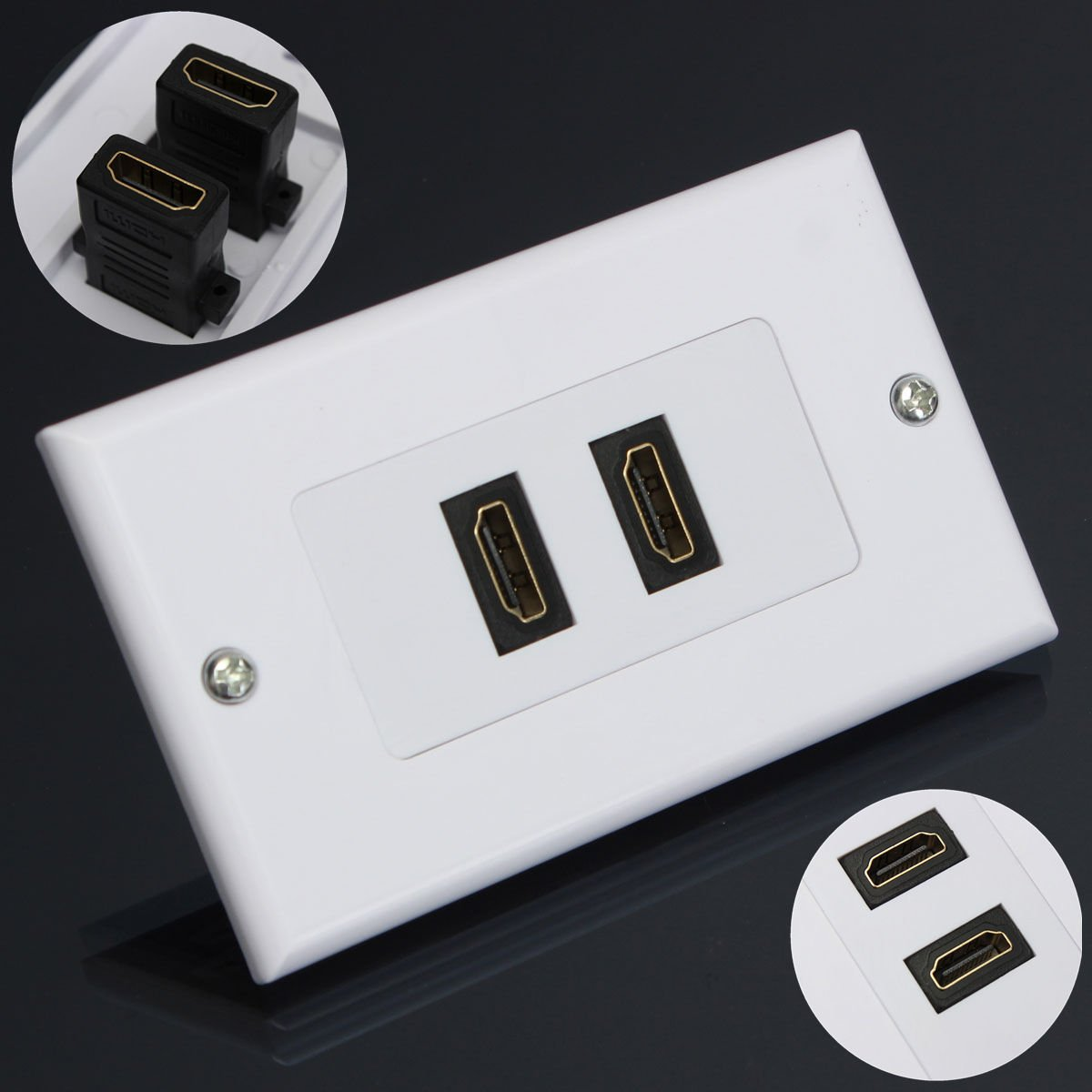 2-Port HDMI Wall Face Plate Panel Cover Coupler Outlet Extender 3D 1080P White    VW7