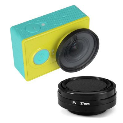 UV 37mm Filter + Lens Cover Set for Xiaomi Yi Action Sports Camera  -  BLACK 132265401