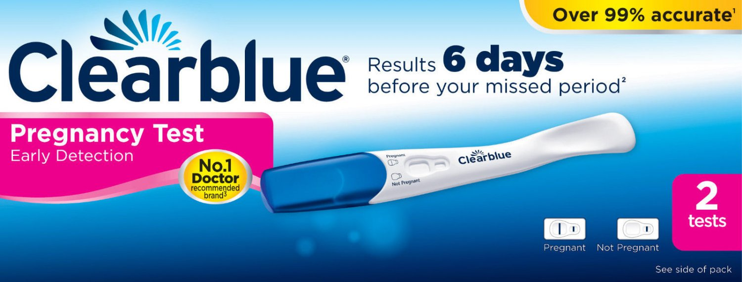 2 x Clearblue 6 Days Early Detection Pregnancy Tests Testing Stick Kits     BB
