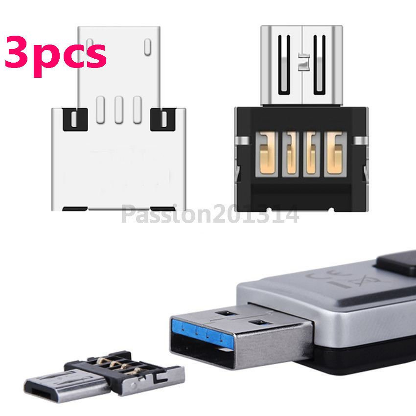 3Pc Micro USB Male to USB Female OTG Adapter Converter For Phone Tablet Mouse