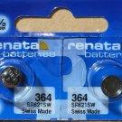 2-Renata 364 Battery SR621SW Silver Oxide