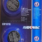 2- CR 1616 Rayovac LITHIUM BATTERIES 3V Watch