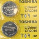 2- Toshiba 2016 Lithium ECR2016 CR2016 BR2016 3V  battery
