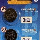 2-Renata CR1632- 2Qt. CR 1632 DL1632 BR1632 3 Volt Lithium battery batteries
