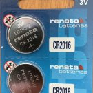 2- Renata CR2016 ECR2016 BR 2016 Battery