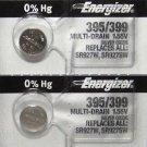 2 Energizer 395/399 SR927SW AG7 2Qt. Batteries
