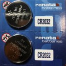 2-Renata CR2032 Watch Battery ECR2032 DL2032