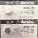 2 Pce Energizer 393/309 Calculator 1.5V Silver Oxide Battery