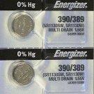 2-ENERGIZER 390/389 AG10 SR1130SW 2 Qt. BATTERIES E390 389