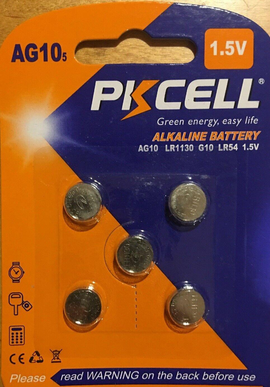 5-PKCell AG10 LR1130 LR54 SR1130 SR1130W Alkaline Battery