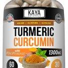 Turmeric w/ BioPerine 60 Count Curcuminoids, Premium Pain Relief & Joint Support