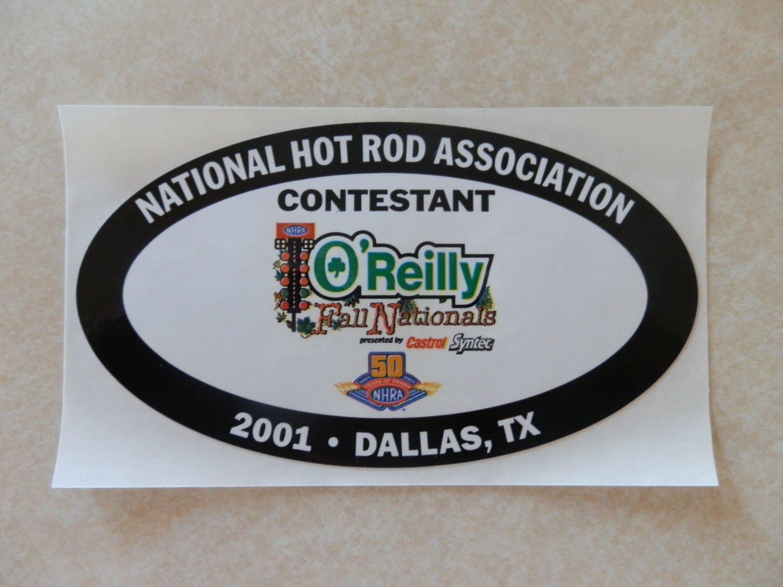 2001 NHRA Contestant Decal Dallas