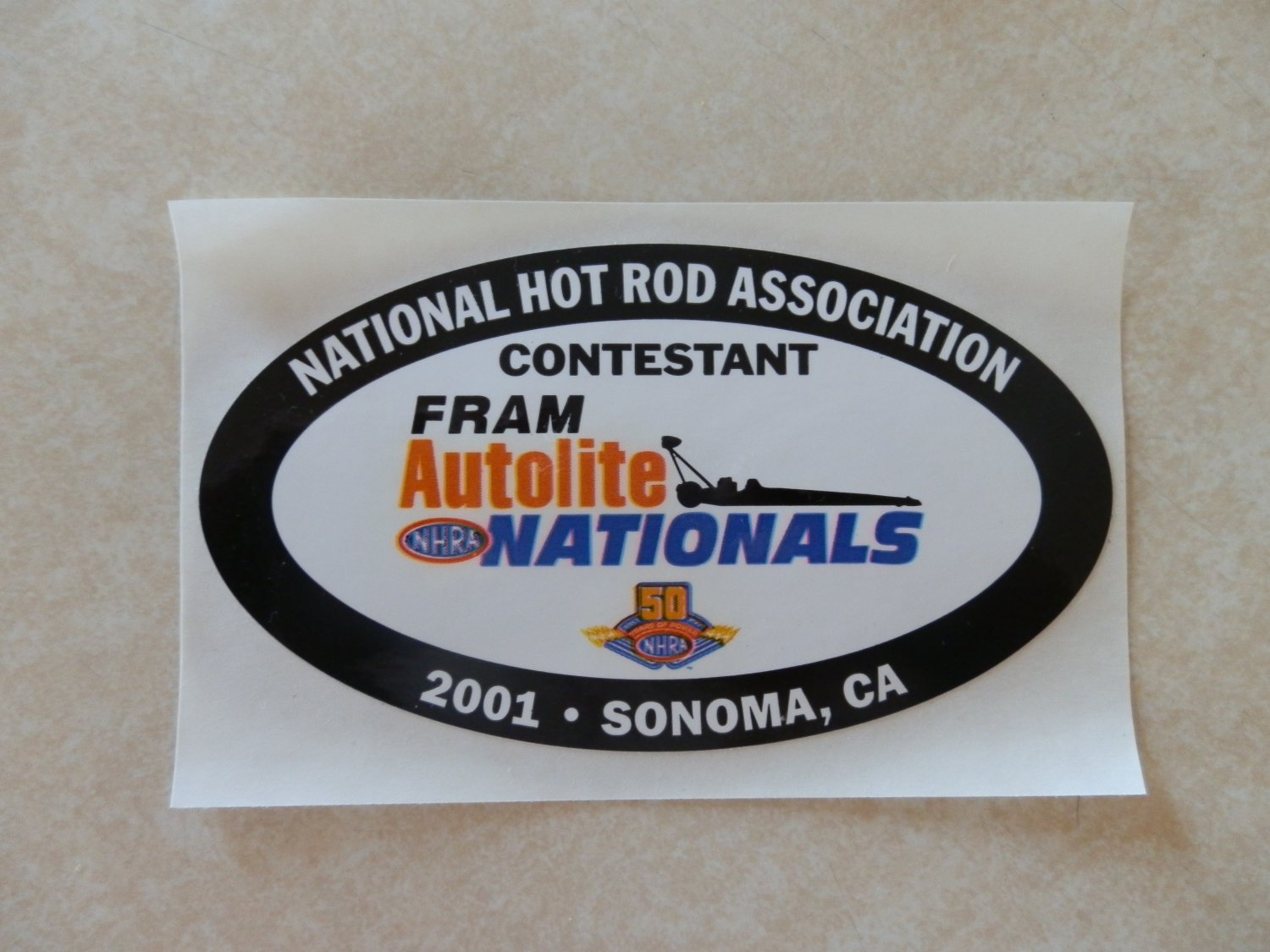 2001 NHRA Contestant Decal Sonoma