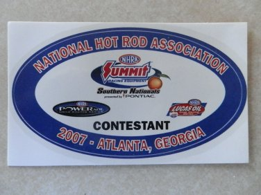 2007 NHRA Contestant Decal Atlanta