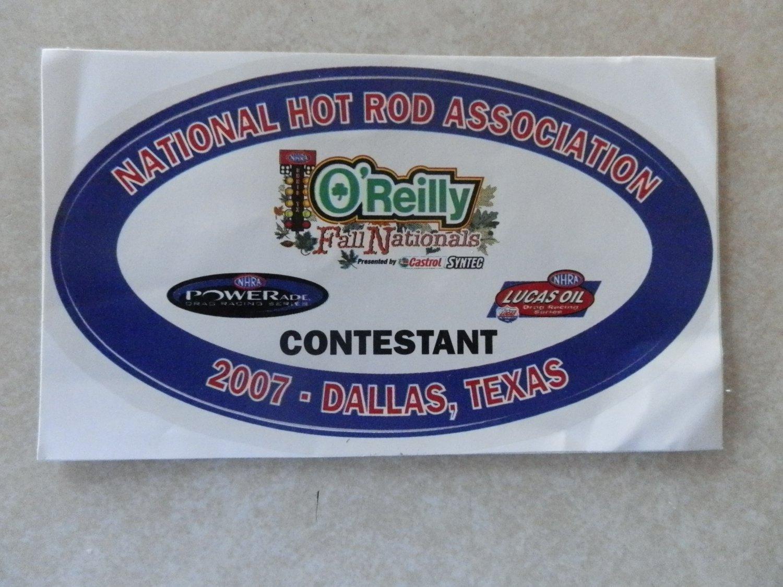 2007 NHRA Contestant Decal Dallas