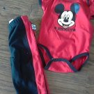 Disney baby Boy's Mickey Mouse red bodysuit pant set 3-6 mos