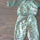 Baby Connection baby boy's 2 piece green camo sweater pant set 0-3 mos
