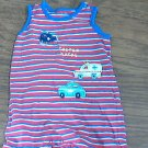 Carter's baby boy's red,blue and white striped short sleeveless outfit/bodysuit  12 mos