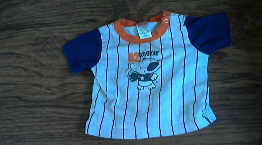 Fisher Price baby boy's white and blue short sleeve shirt 6-9 mos