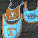 Lot of 3 baby boy or girl orange Volunteers Tennessee bibs one size fits all