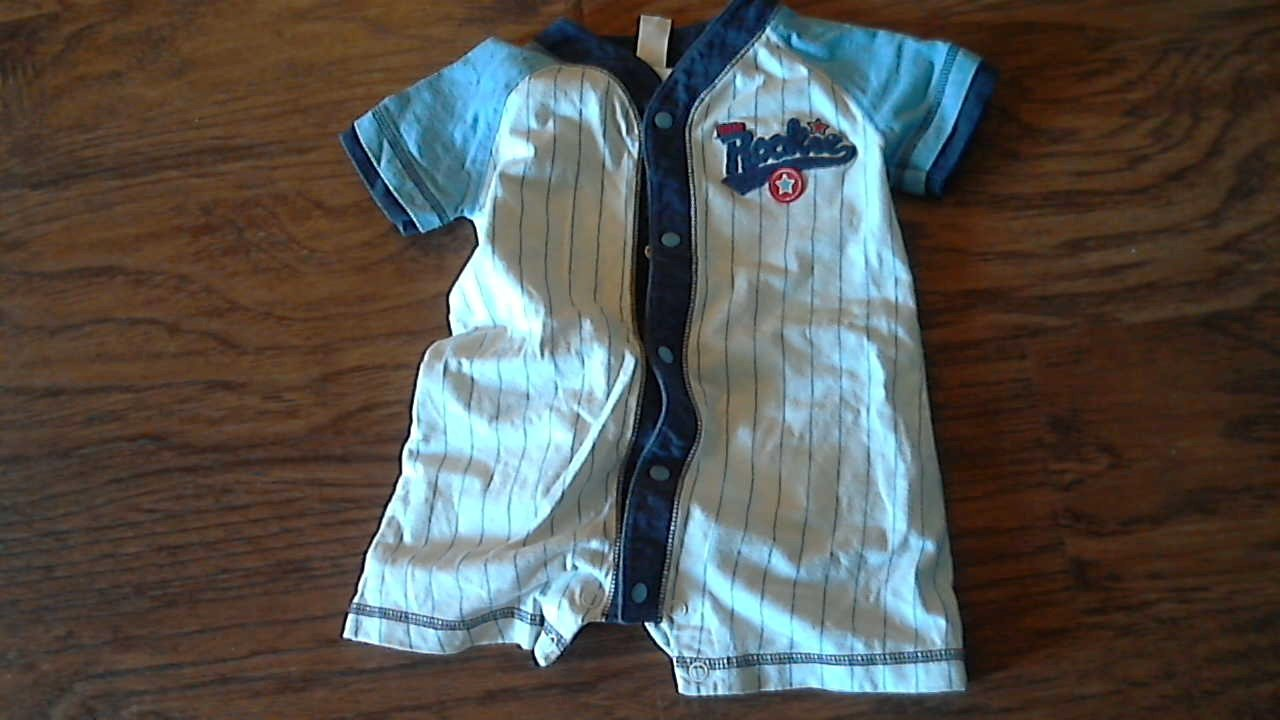 Carter's baby boy's blue and white striped bodysuit 9 mos