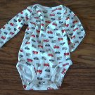 Carter's baby boy's cars prints long sleeve white oneise 6 mos