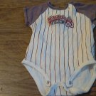 Carter's baby boy's white and red striped short sleeve oneise 6 mos