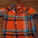 Healthex baby boy's orange,blue & brown plaids short sleeve shirt 18 mos