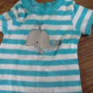 Carter's baby boy's blue and white striped short sleeve shirt 6-9 mos