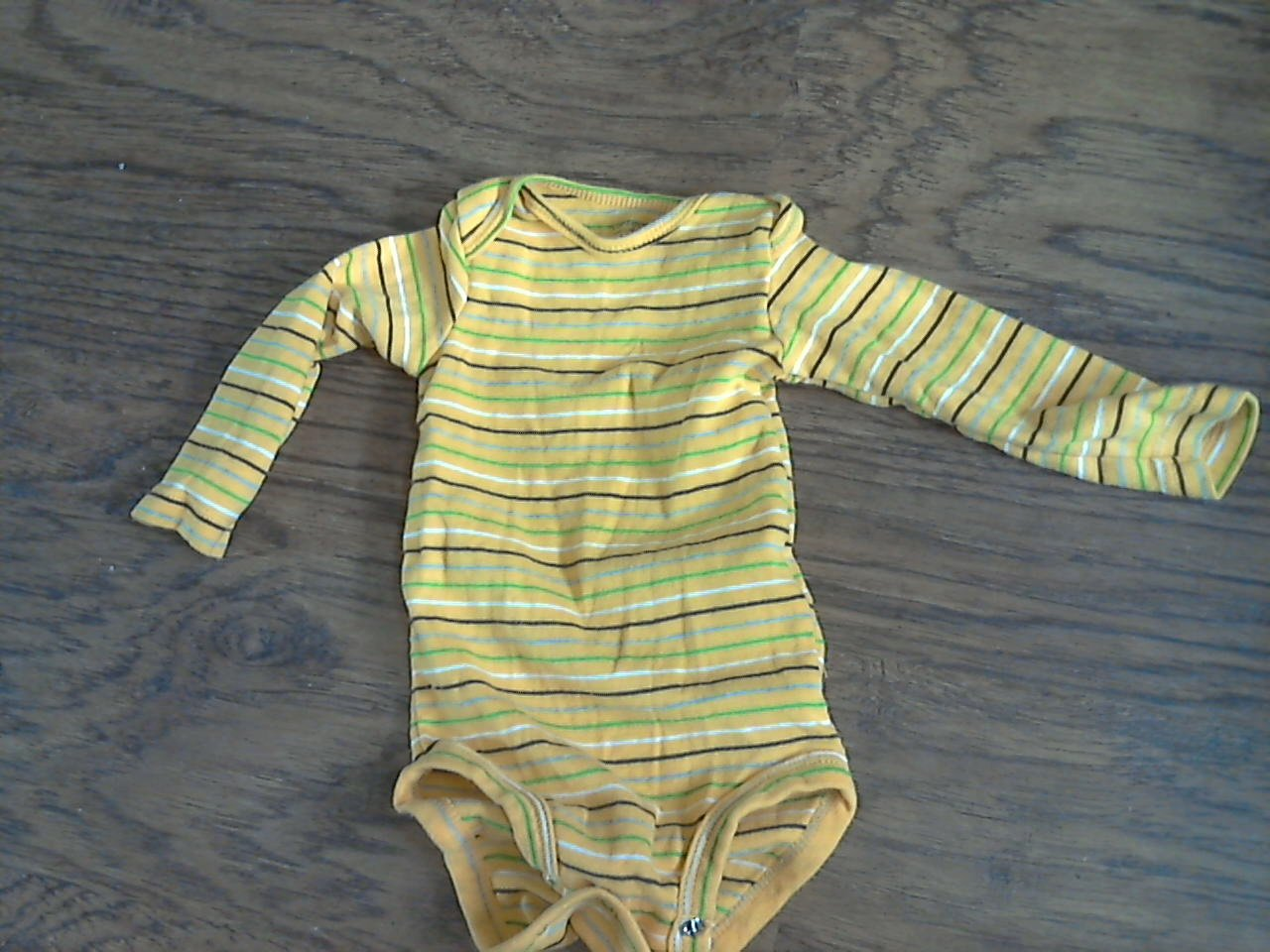 Carter's baby boy's yellow,green,black,white striped long sleeve bodysuit 6 mos