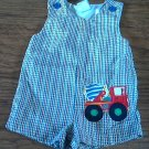Baby boy's green,yellow,blue striped romper 6-9 mos