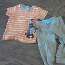 Carter's baby boy's orange and white striped short sleeve shirt pant set