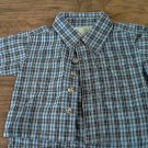 Baby boy's blue and black striped short sleeve shirt 0-3 mos