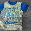 Thomas & Friends baby boy's yellow and navy striped short shirt 24 mos