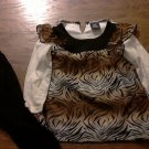 Hart Steet toddler girl's brown zebra long sleeve shirt pant set 3T