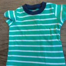 Carter's baby boy's green and white striped shirt 6 mos