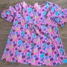 Small Girl's purple,green,blue polka dots short sleeve shirt