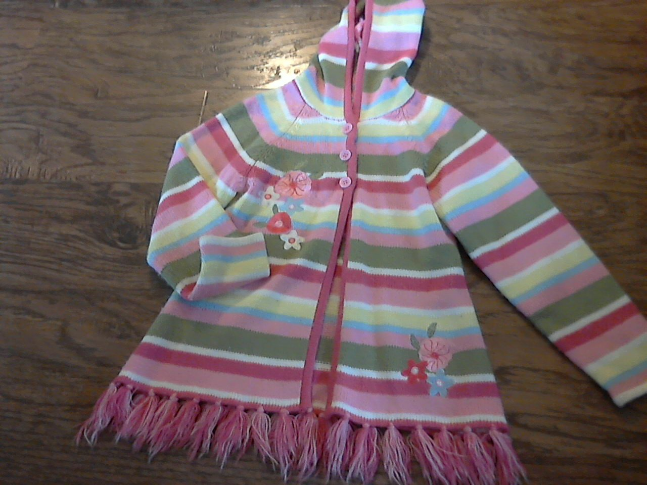Girl's pink,yellow,green striped hooded long sleeve knitted sweater jacket size 6