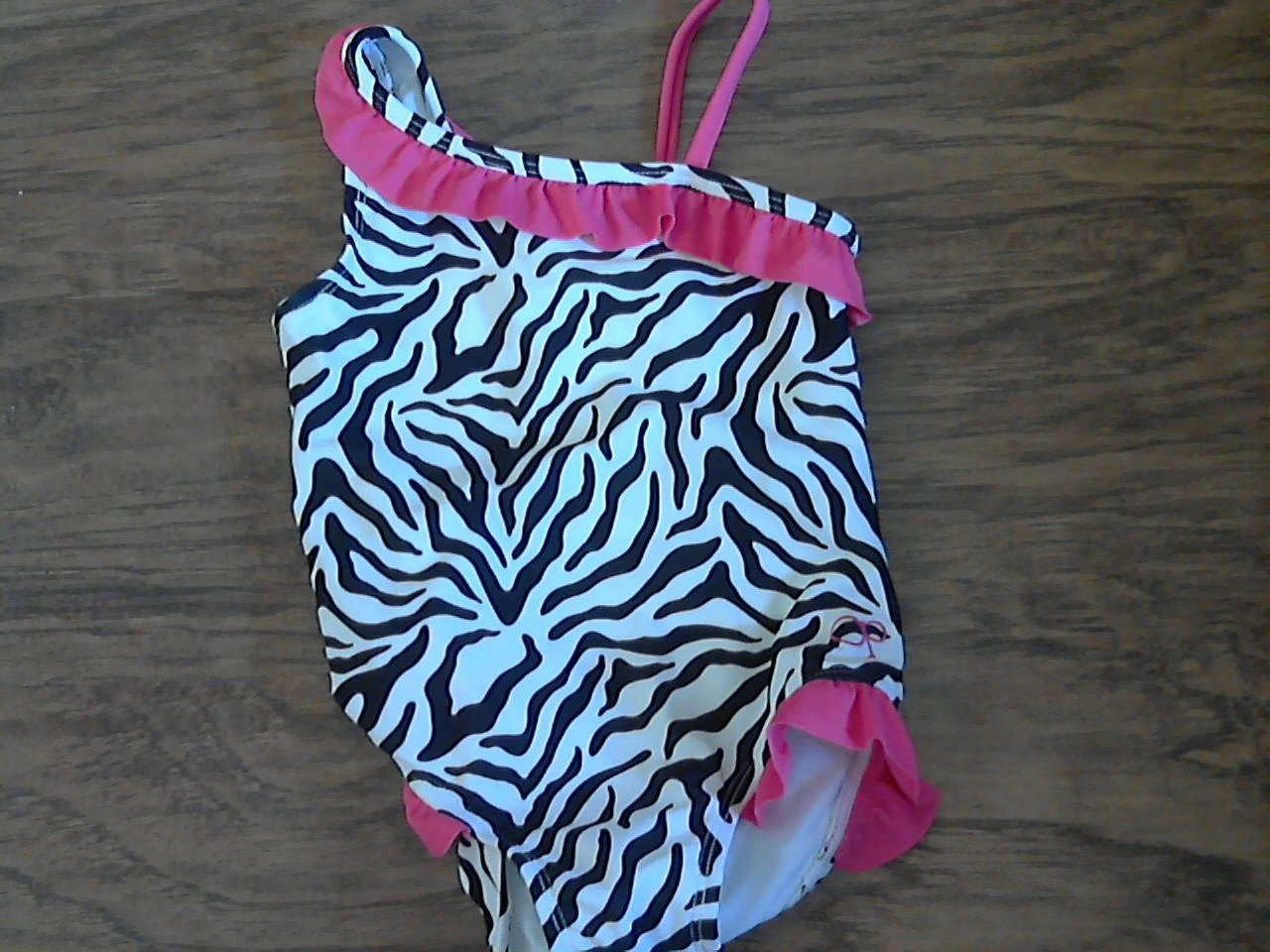 New OP baby girl's one piece black animal print swimsuit 24 mos