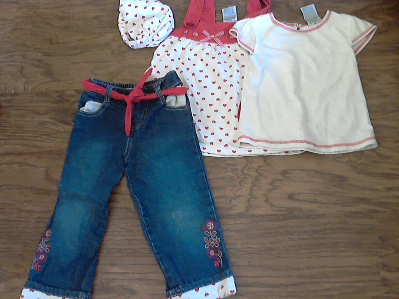 4 pieces toddler girl's white shirts, cap, jean denim pant set 3T