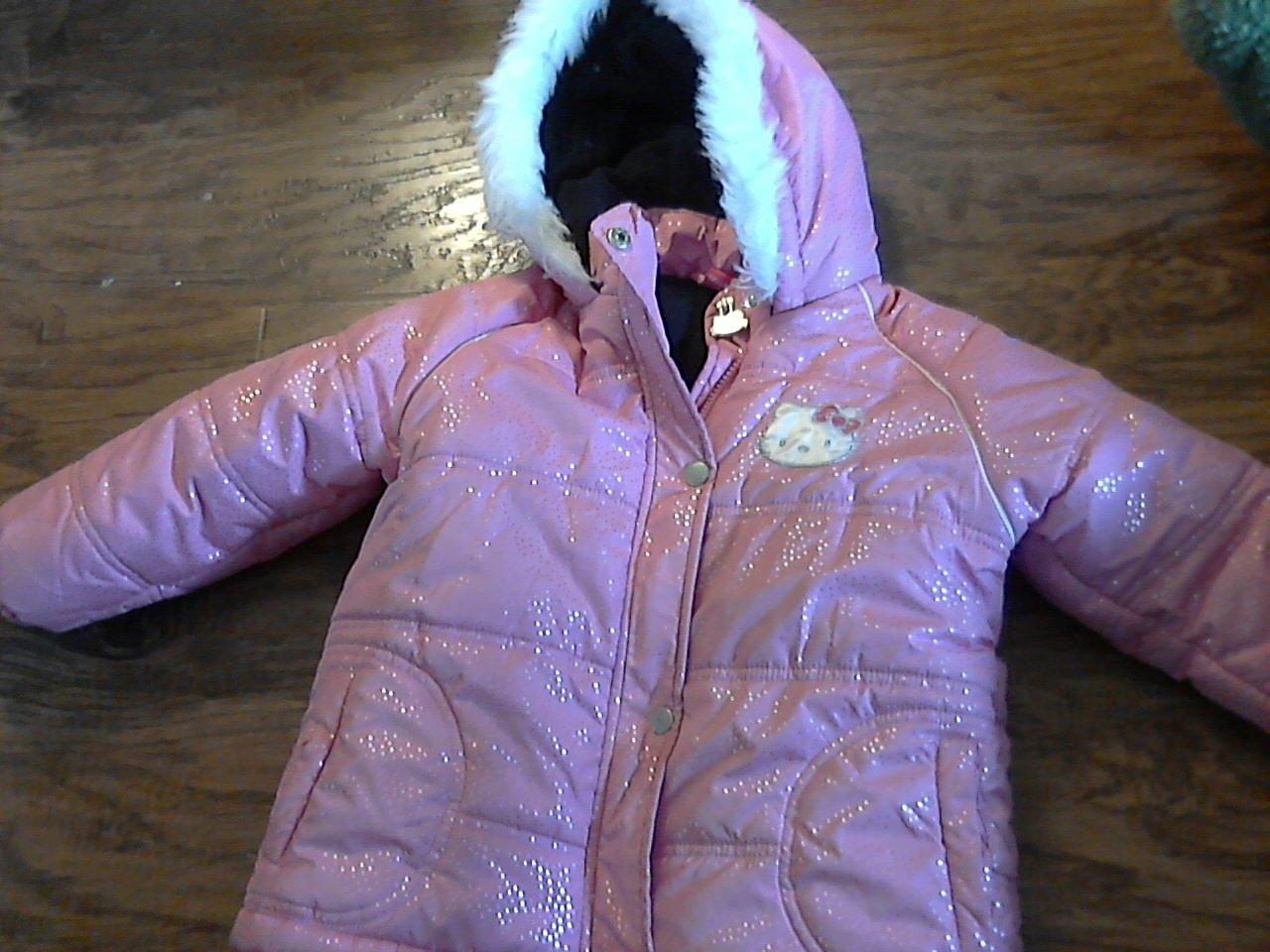 Toddler girl's pink Hello Kitty hooded coat 4T