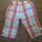 Izod toddler girl's pink, yellow, blue striped capri 3T